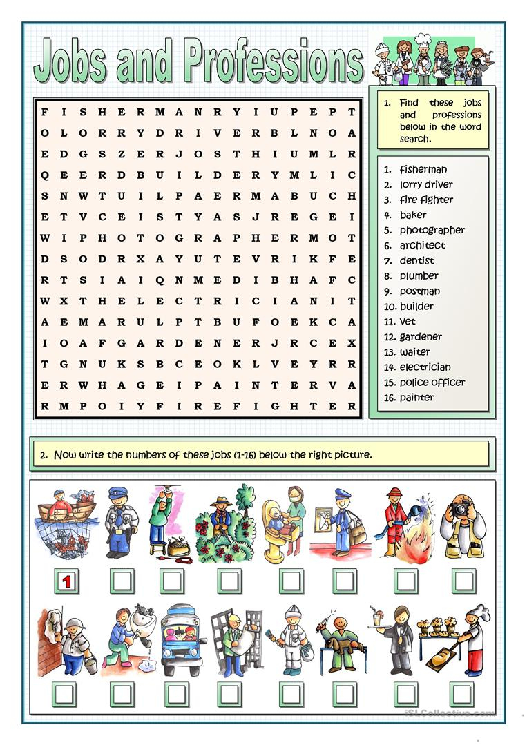 Jobs And Professions Puzzles Worksheet - Free Esl Printable - Printable Puzzles.com