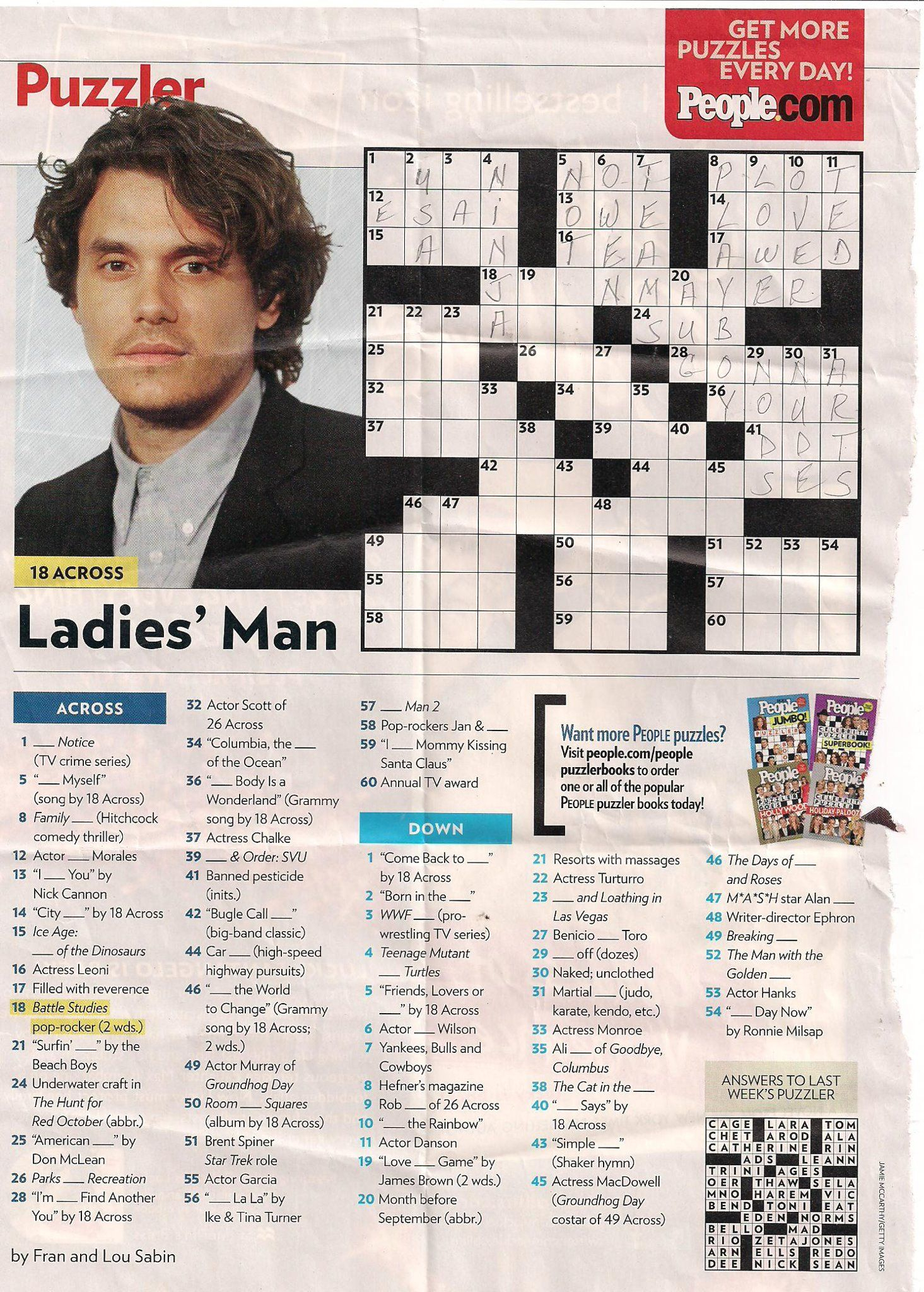 John Mayer - People Magazine Crossword I Love Doin People Magazine - Printable Crossword Puzzles From People Magazine