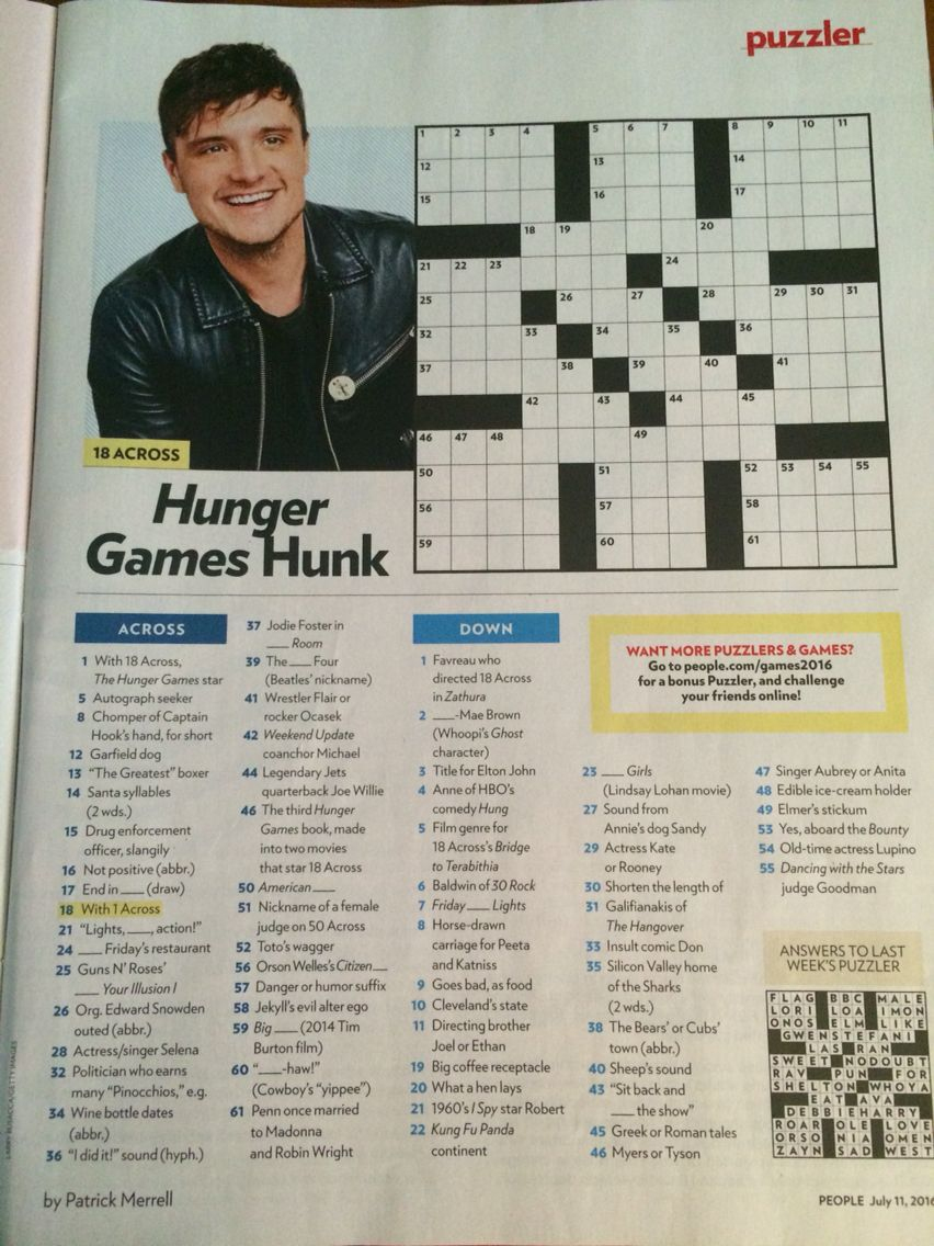 Josh Hutcherson Crossword In People July 11Th, 2016 Issue | Cross - Printable Crossword Puzzles From People Magazine