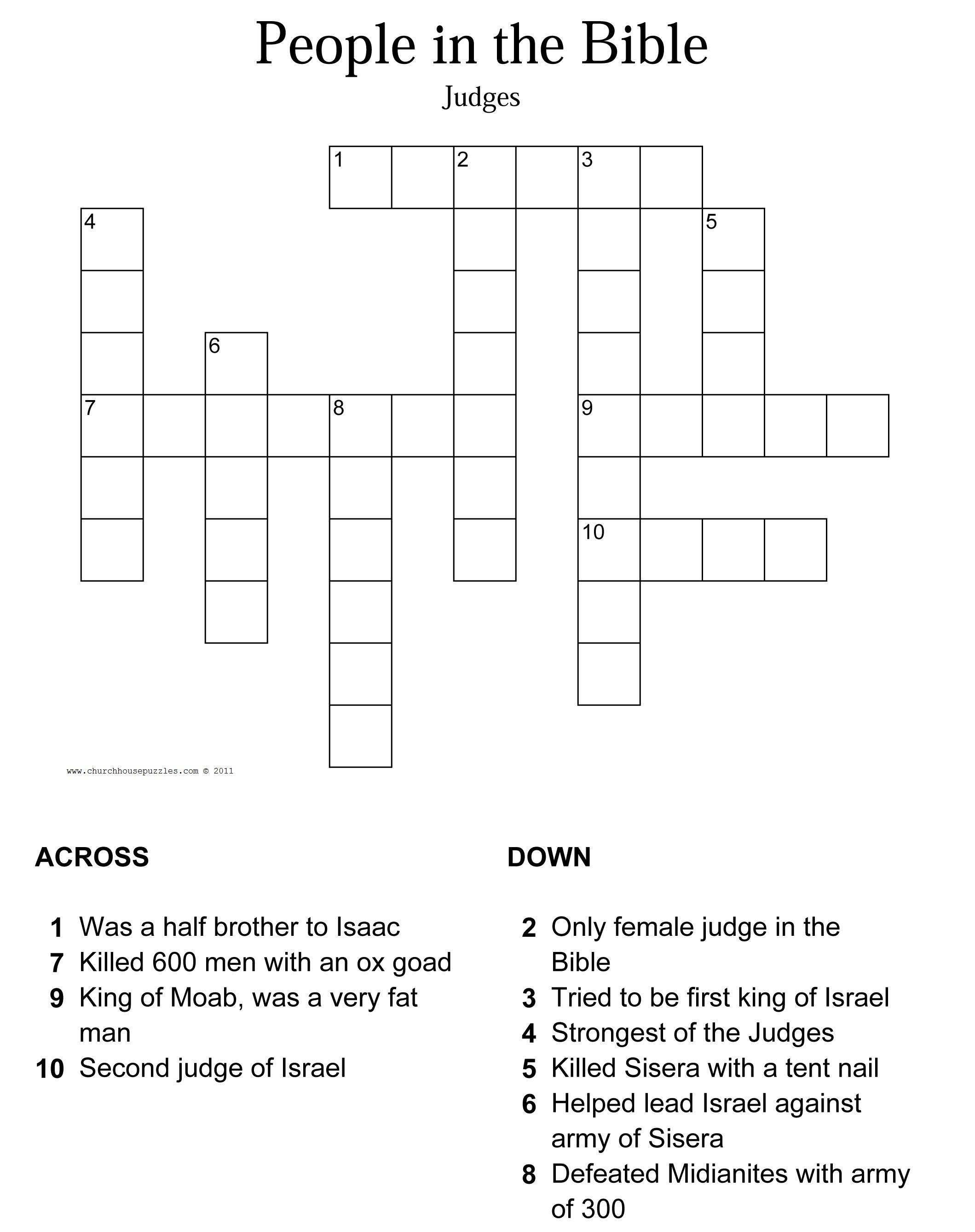 Judges Crossword Puzzle - Printable Biblical Puzzle