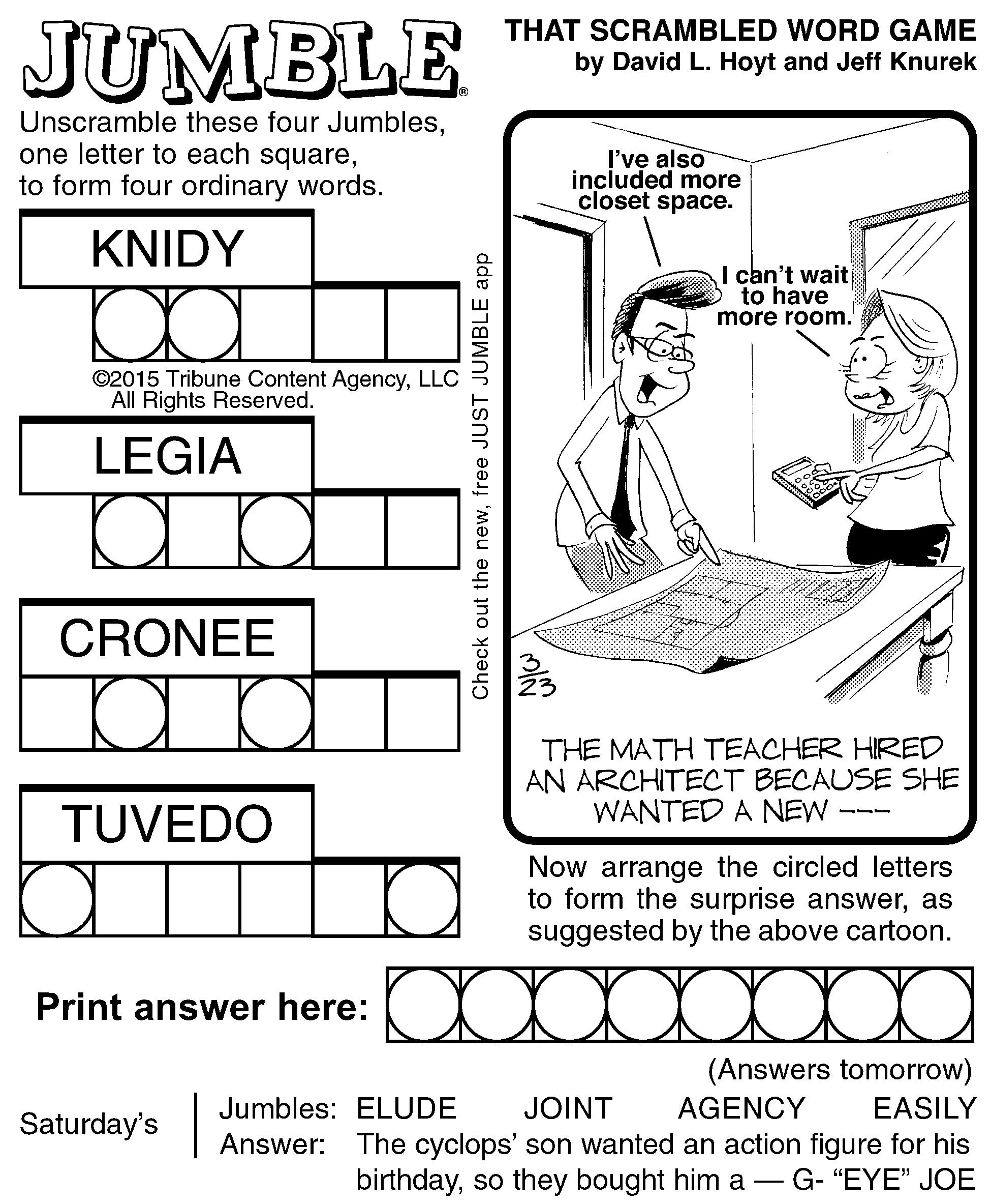 Jumble Archives | Tribune Content Agency - Jumble Puzzle Printable - Printable Jumble Crossword Puzzles