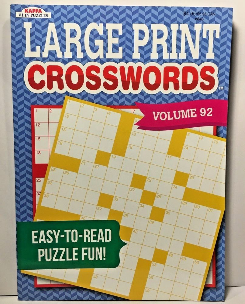 Kappa Large Print Crosswords Puzzles Volume 92 #kappa | Puzzle Books - Large Print Crossword Puzzle Books For Seniors