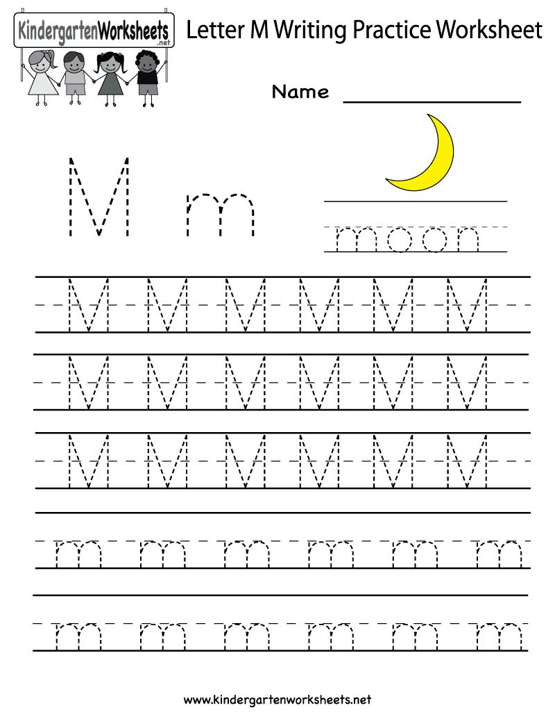 Kindergarten Letter M Writing Practice Worksheet Printable - Letter M Puzzle Printable