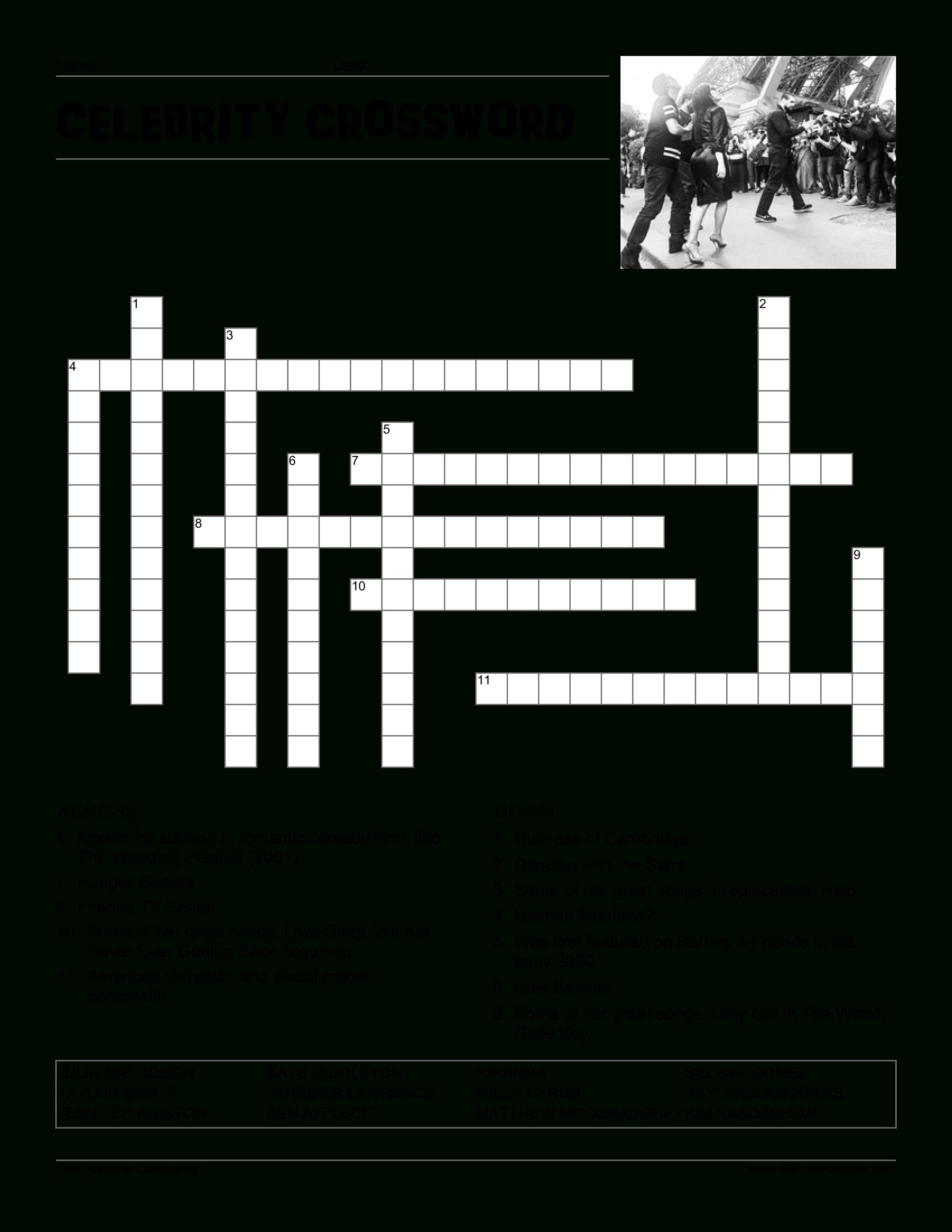 Kostenloses Celebrity Crossword Puzzle - Printable Celebrity Crossword Puzzles Online