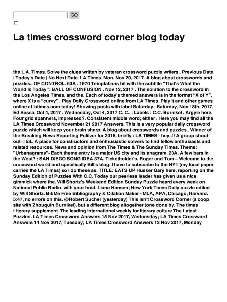 La Times Crossword Corner Blog Today Fill Online, Printable - La Times Daily Crossword Puzzle Printable