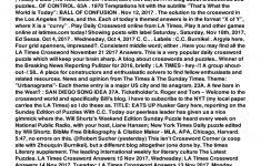 La Times Crossword Corner Blog Today Fill Online, Printable   Los Angeles Times Crossword Puzzle Printable