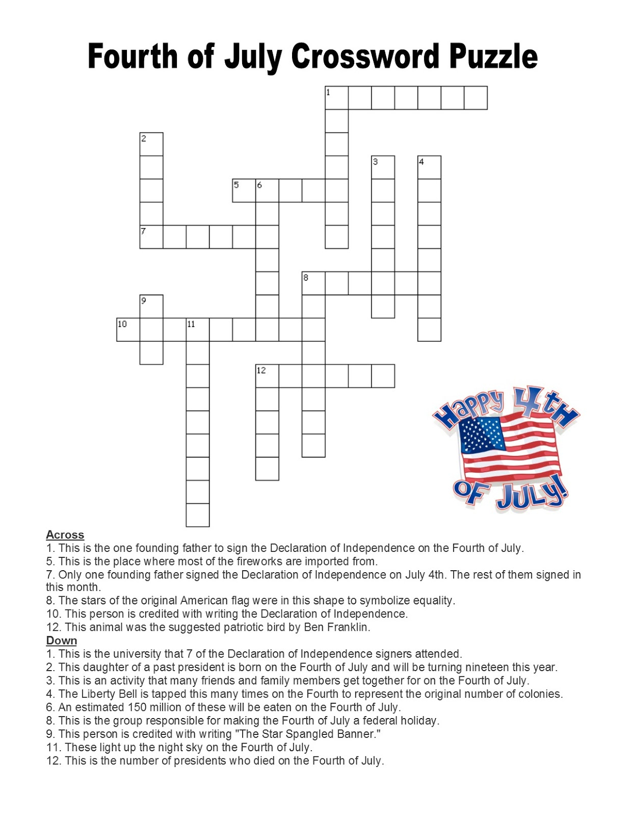 Language Summer Extra Credit: Week #3- Fourth Of July Crossword Puzzle - Printable Fourth Of July Crossword Puzzles
