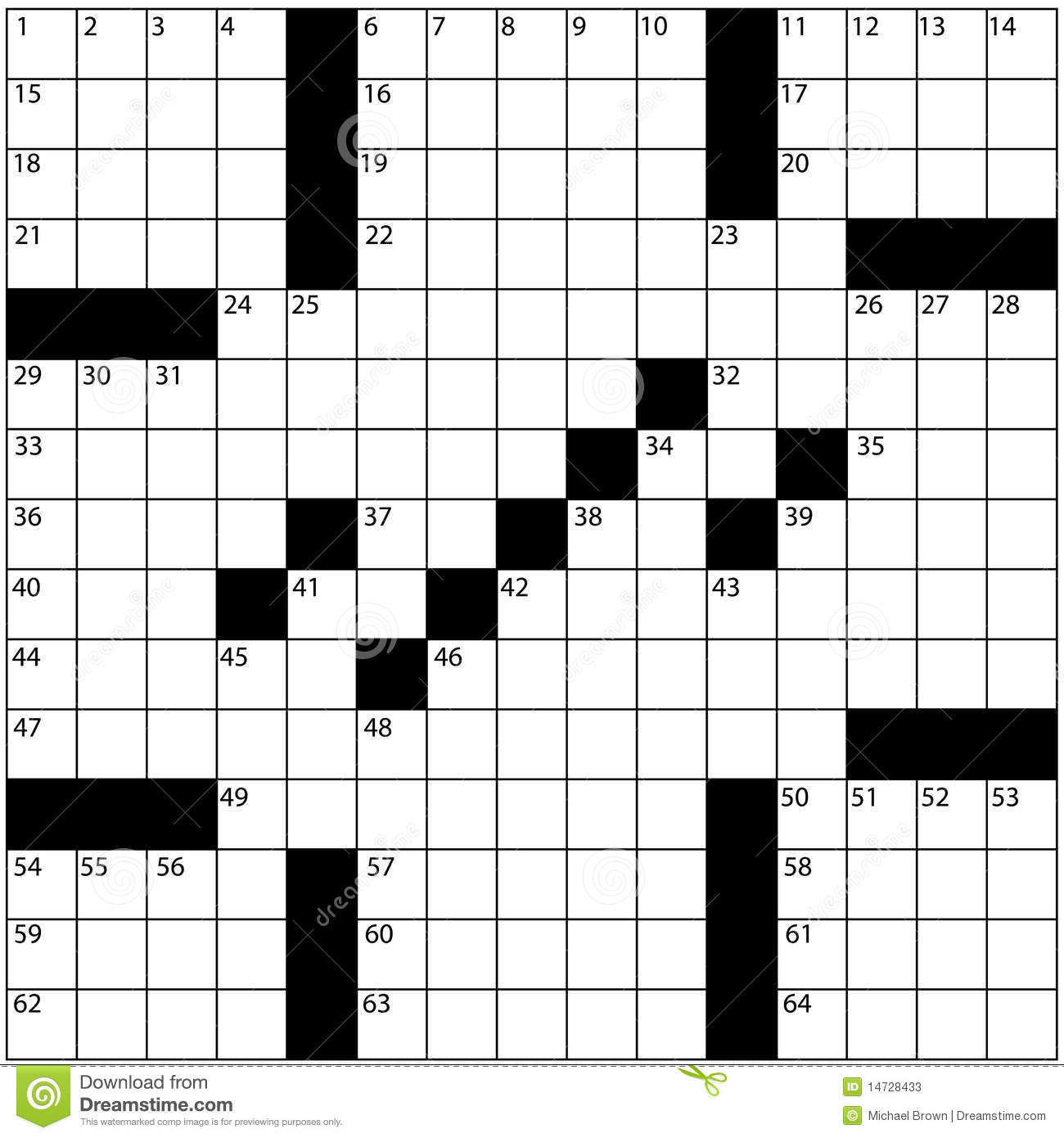 Large Newspaper Crossword Puzzle Grid Numbers Stock Illustration - Printable Crossword Puzzle Grid