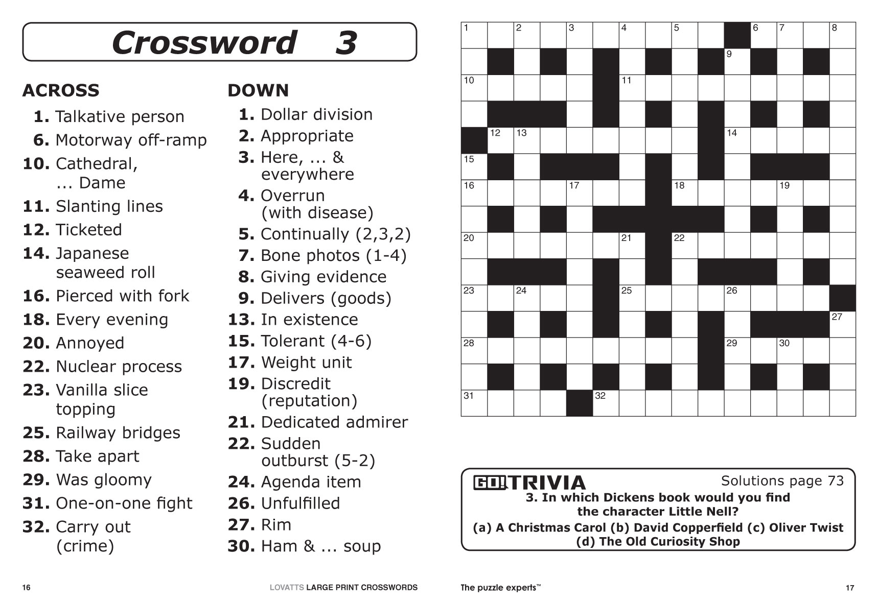 Large Print Crosswords Magazine - Lovatts Crossword Puzzles Games - Quick Printable Puzzles