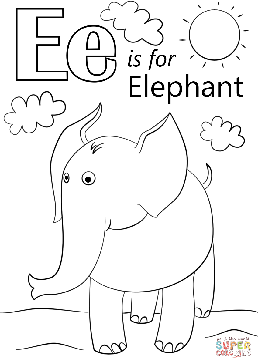 Letter E Is For Elephant Coloring Page | Free Printable Coloring Pages - Printable Elephant Puzzle