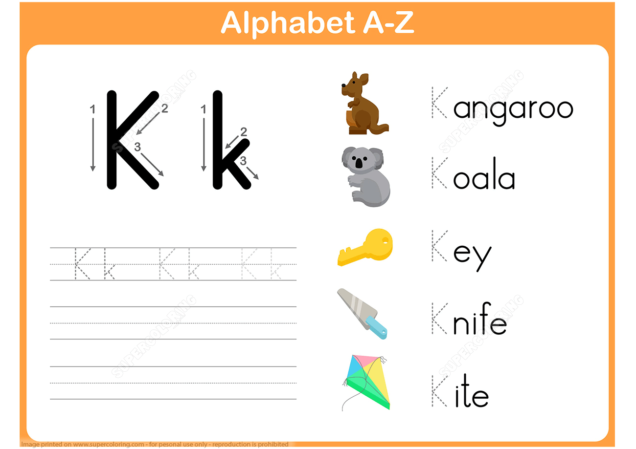 Letter K Tracing Worksheet | Free Printable Puzzle Games - K Print Puzzle
