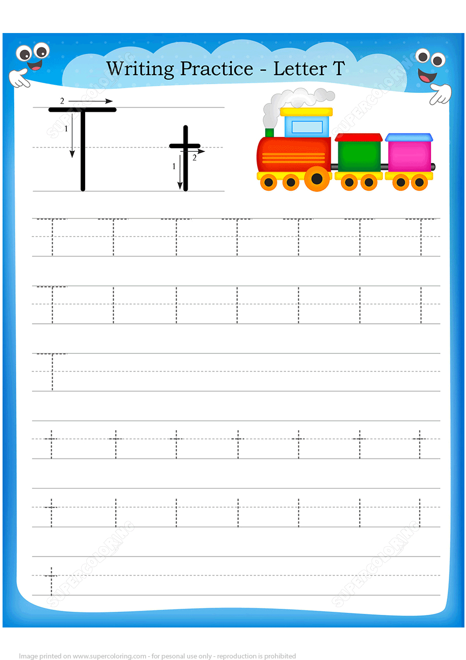 Letter T Is For Train Handwriting Practice Worksheet | Free - Printable Train Puzzle