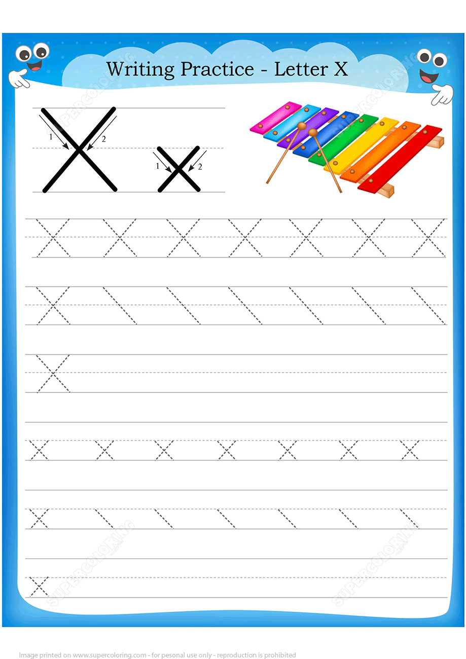 Letter X Is For Xylophone Handwriting Practice Worksheet   Free - X Puzzle Worksheet