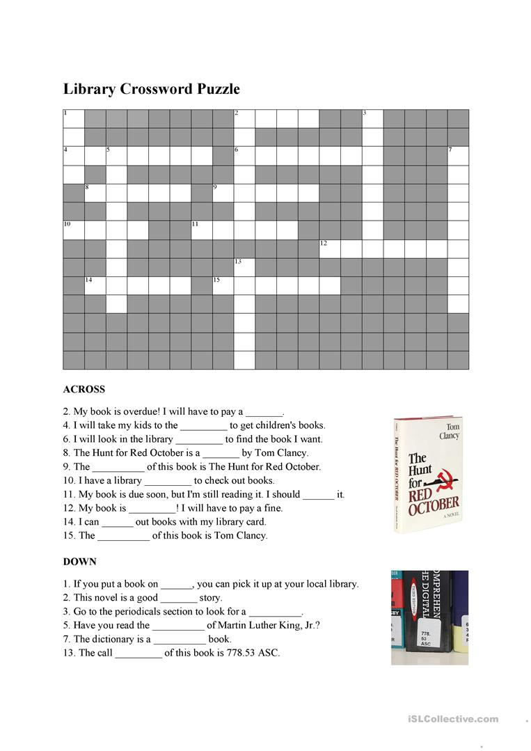 Library Vocabulary Crossword Worksheet - Free Esl Printable - Printable Vocabulary Crossword Puzzles