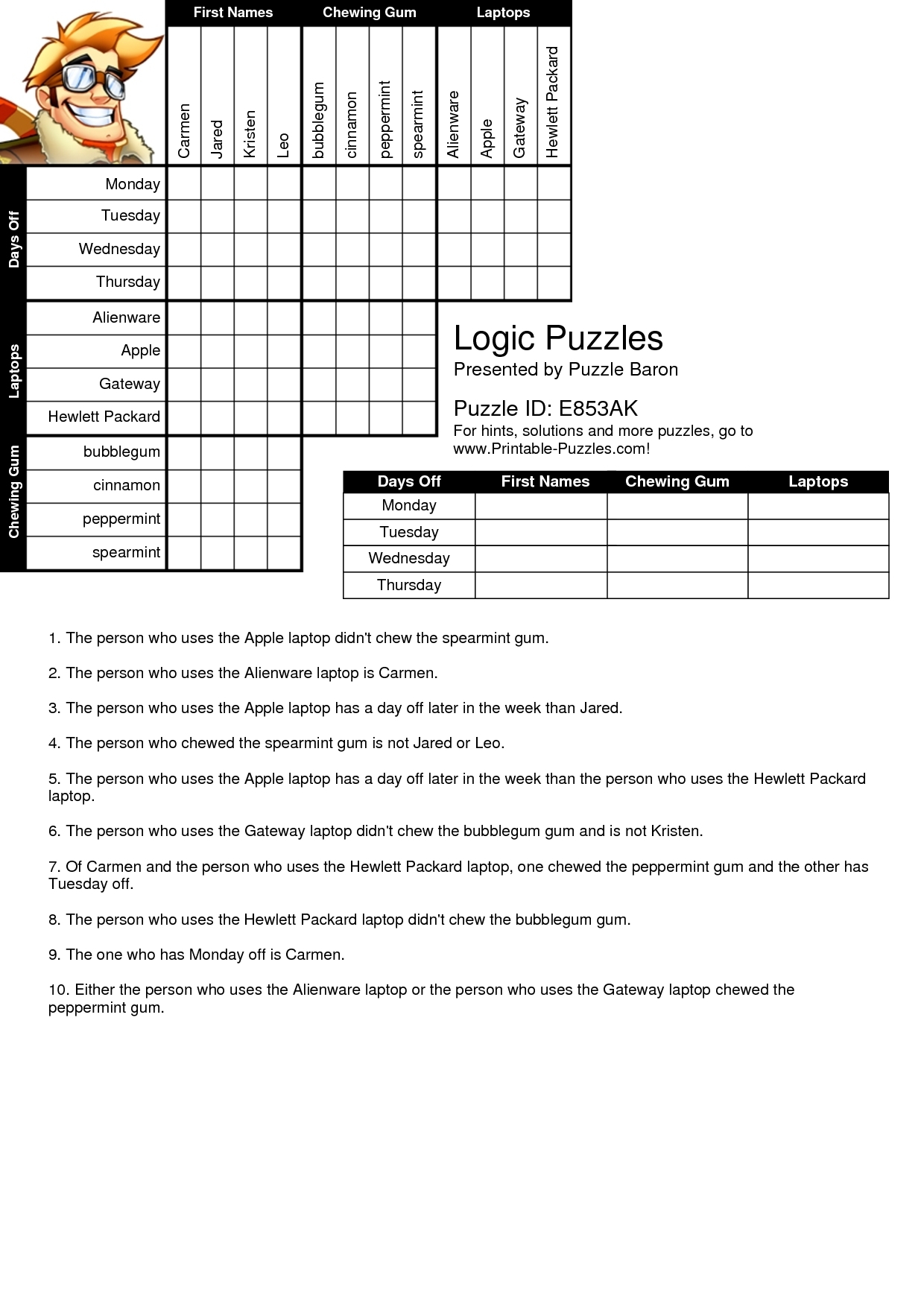 Logic Grid Puzzles Printable (78+ Images In Collection) Page 2 - Printable Logic Puzzle Grid Blank