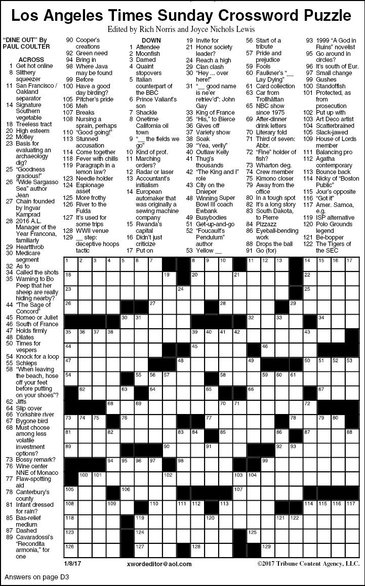 Los Angeles Times Sunday Crossword Puzzle   Features   Timesargus - Los Angeles Times Crossword Puzzle Printable