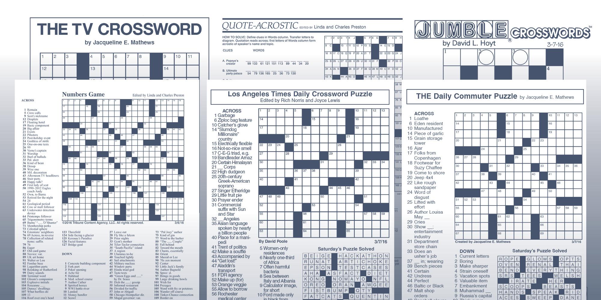 Los Angeles Times Sunday Crossword Puzzle | Tribune Content Agency - Printable Crossword Puzzles Boston Herald