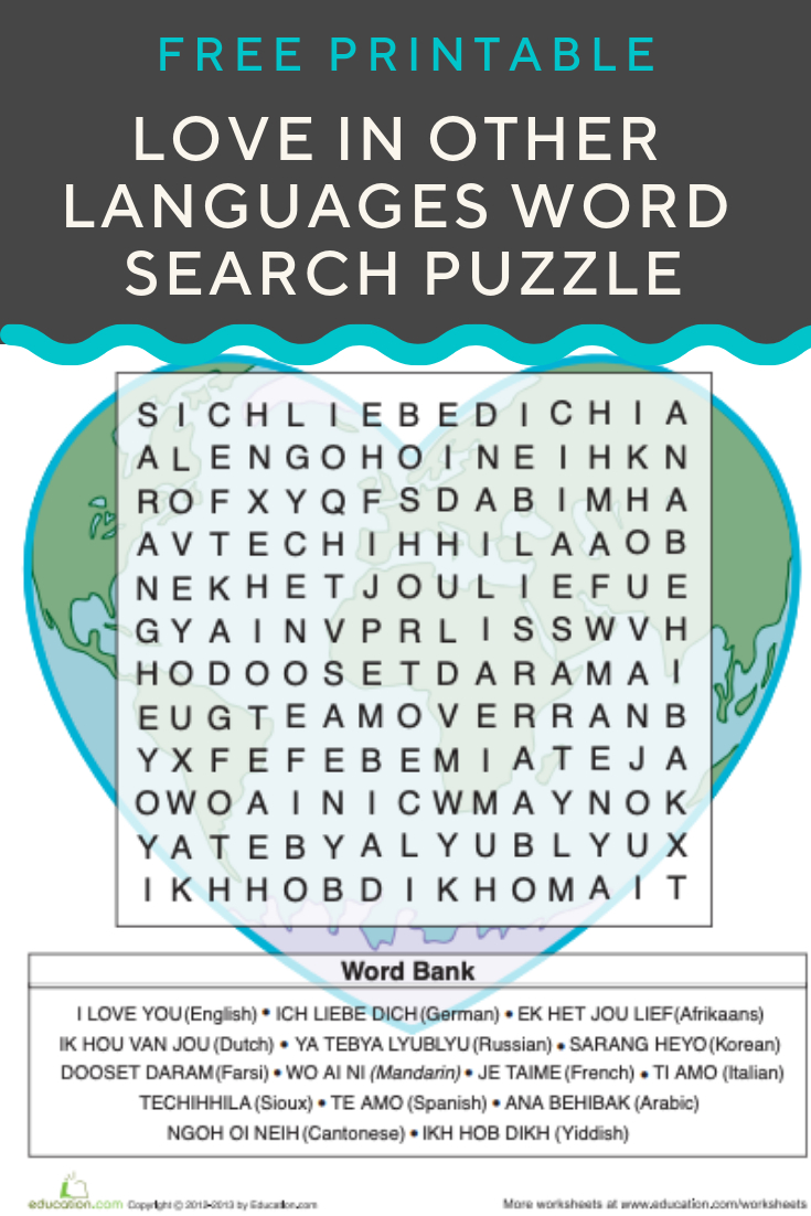 Love In Other Languages | Recently Pinned | Valentines Day Words - Printable Crossword Puzzles In Afrikaans