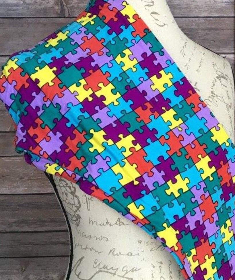 Lularoe Tc Puzzle Piece Leggings Nwt Autism Awareness * Unicorn - Puzzle Print Leggings