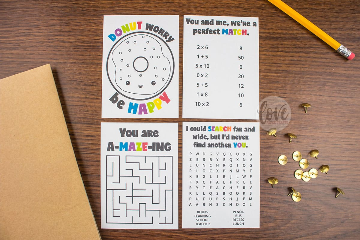 Lunch Box Activity And Puzzle Notes - Love Paper Crafts - Printable Puzzle Paper