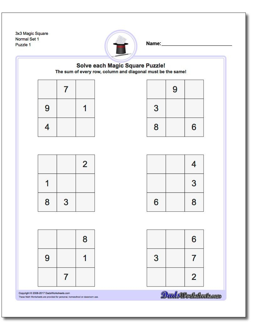 Magic Square Puzzles This Page Has 3X3, 4X4 And 5X5 Magic Square - Printable Kenken Puzzles 3X3