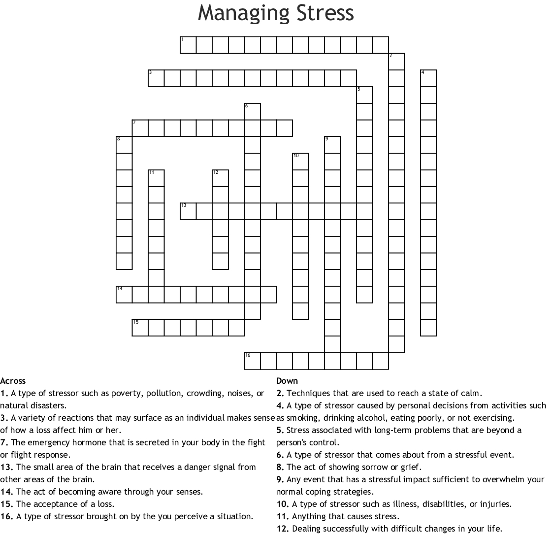 Managing Stress Crossword - Wordmint - Printable Stress Management Crossword Puzzle