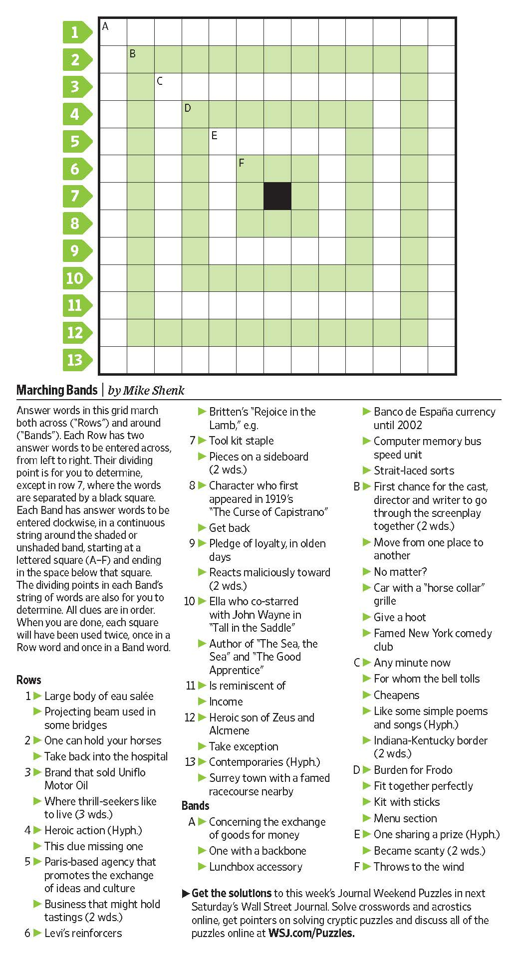 Marching Bands (Saturday Puzzle, Jan. 7) - Wsj Puzzles - Wsj - Printable Wsj Crossword