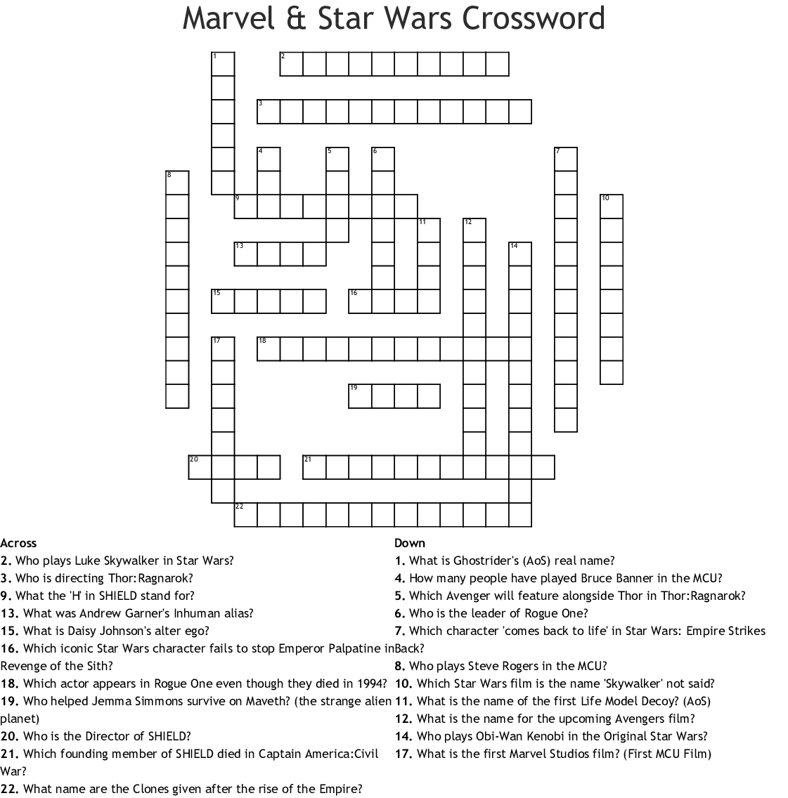 Marvel & Star Wars Crossword - Wordmint - Star Wars Crossword Puzzle Printable