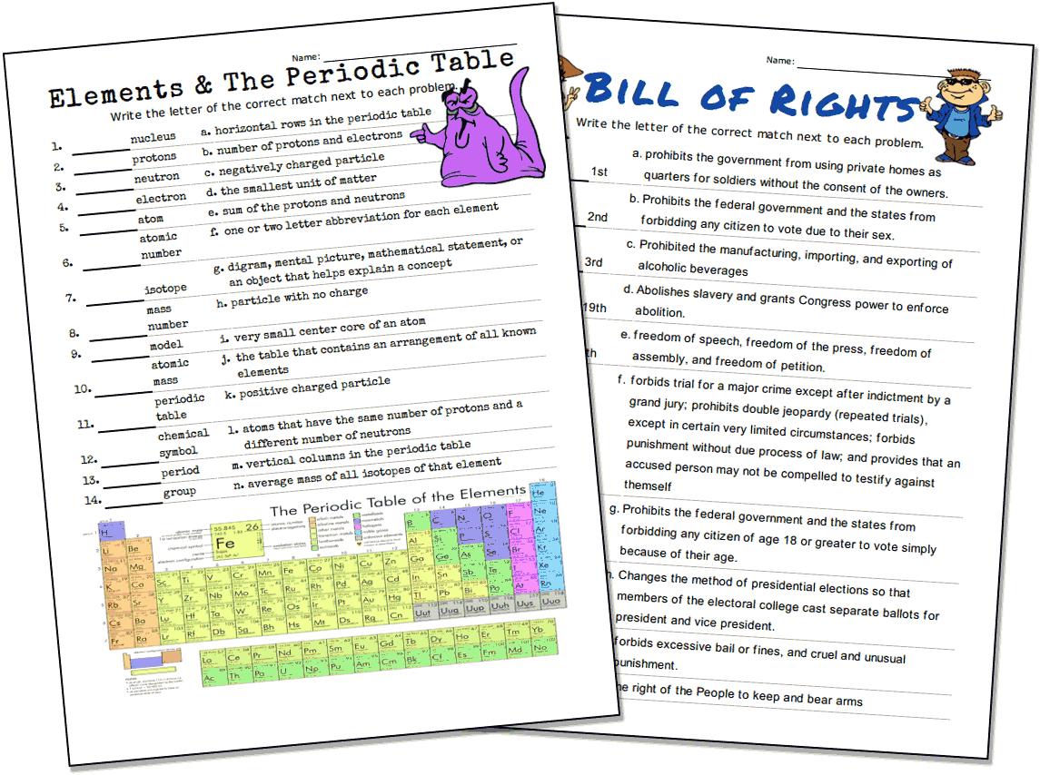 Match-Up Worksheet Maker - Worksheet Puzzle Maker