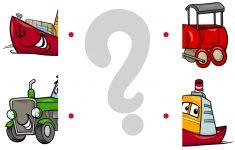 Matching Halves Worksheet With Cartoon Transport   Free Printable   Printable Transportation Puzzles