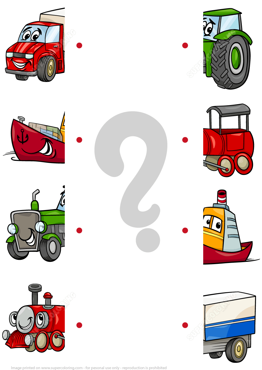 Matching Halves Worksheet With Cartoon Transport | Free Printable - Printable Transportation Puzzles