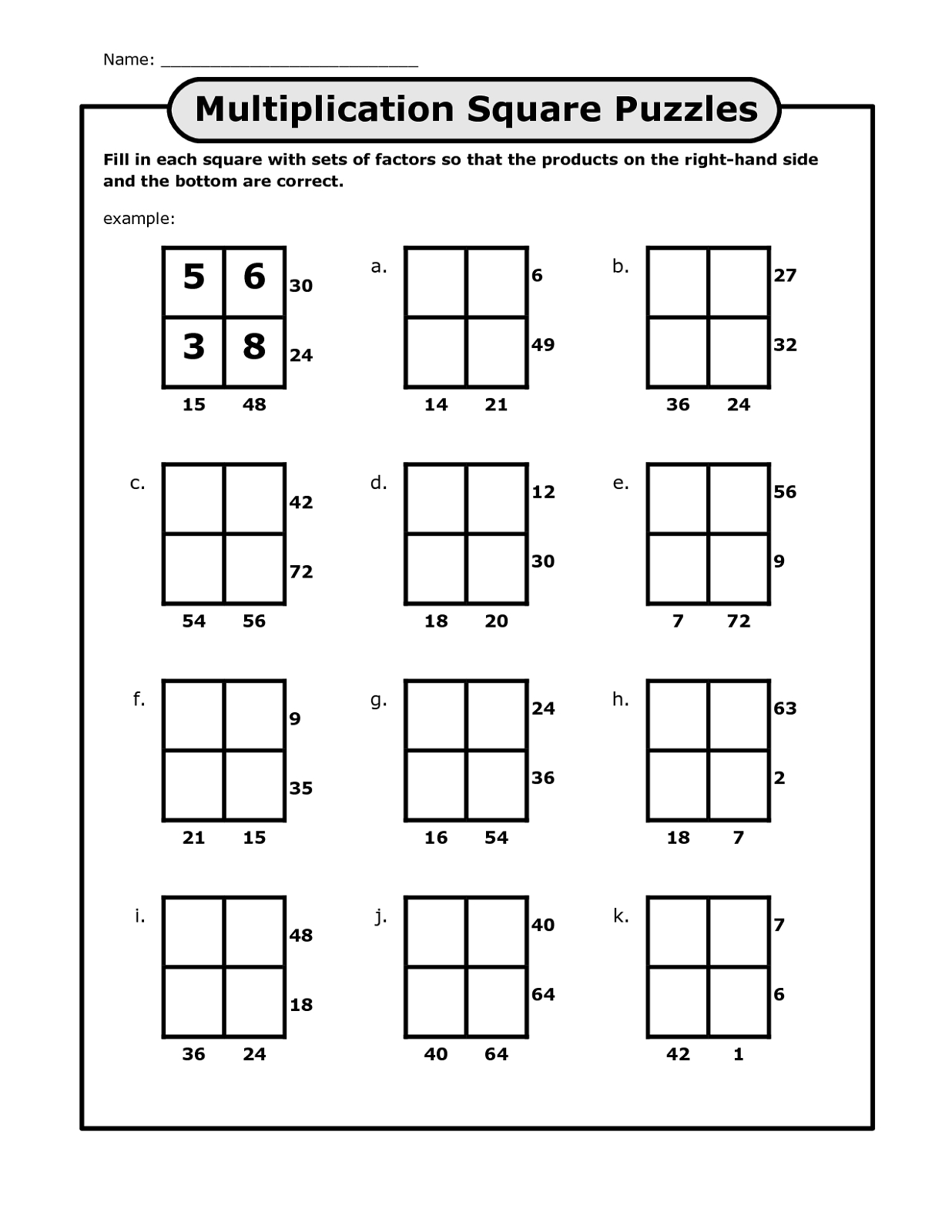 Math Puzzles Printable For Learning   Activity Shelter - Printable Multiplication Puzzle