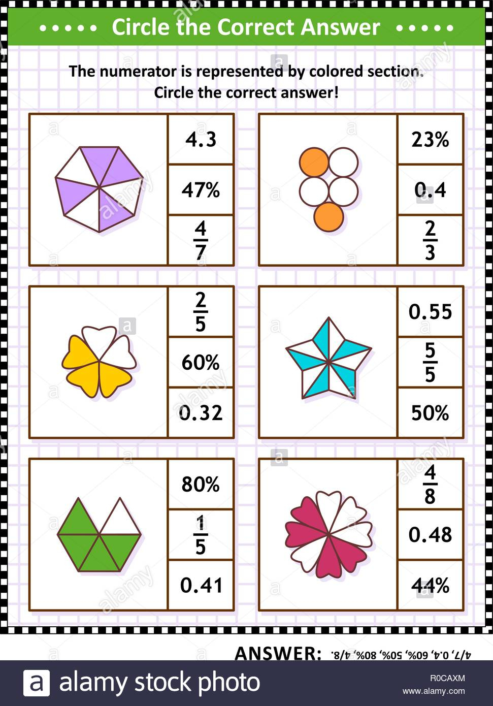 Math Skills Training Visual Puzzle Or Worksheet. Circle The Correct - Worksheet Visual Puzzle