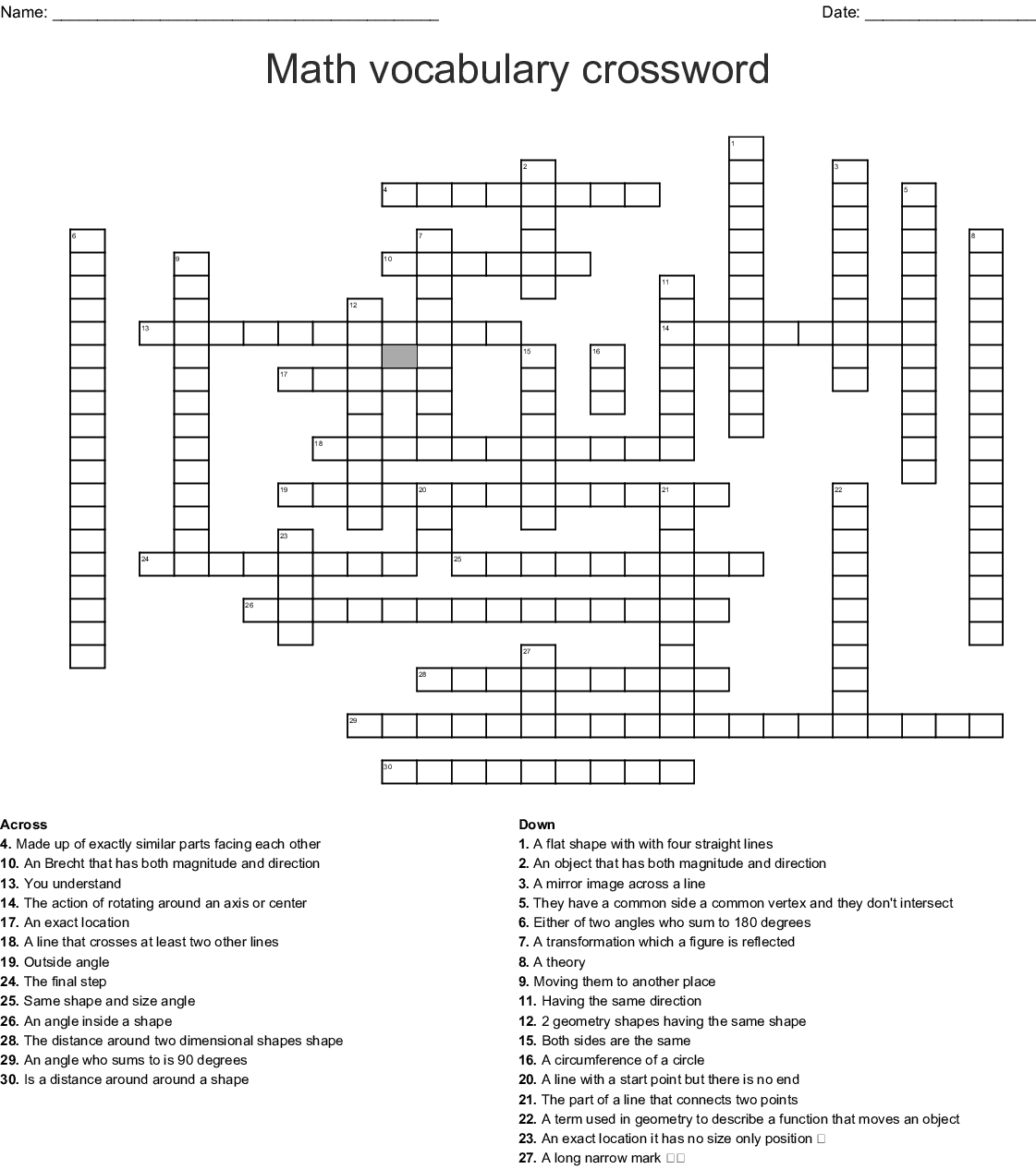 Math Vocabulary Crossword - Wordmint - Printable Math Vocabulary Crossword Puzzles