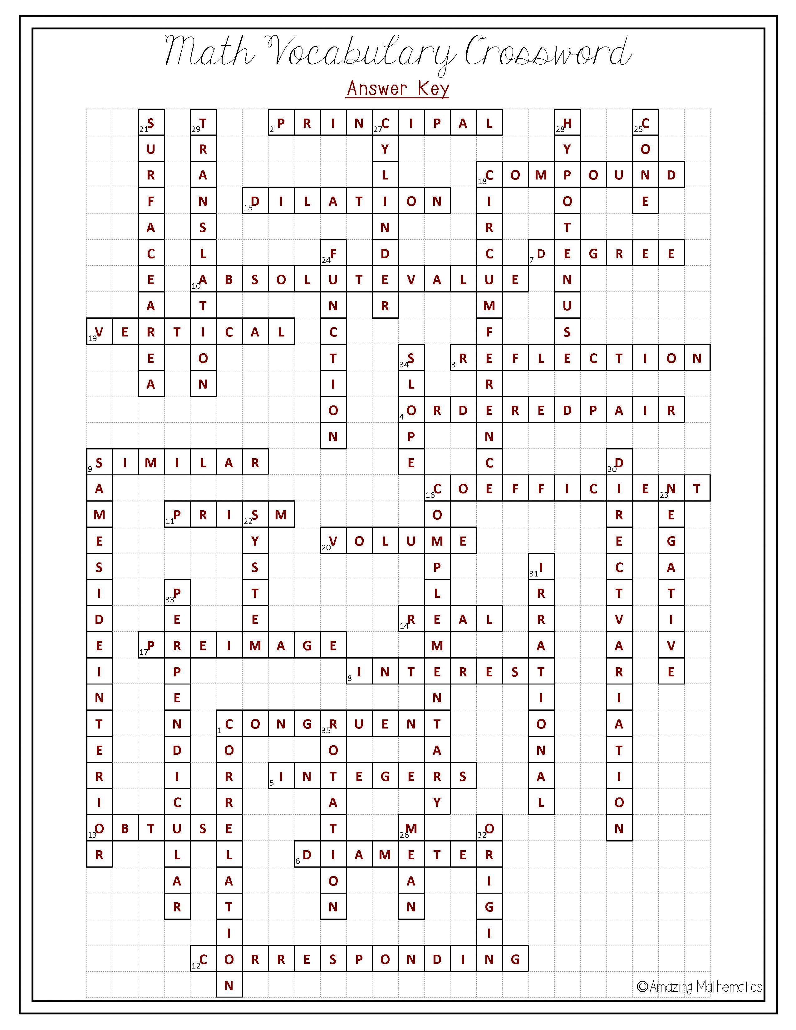 Math Worksheet: Math Puzzle Worksheets. Pre Algebra 1 Worksheets 7 - Algebra 1 Crossword Puzzles Printable