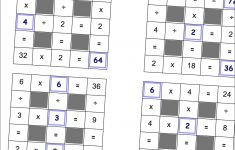 Math Worksheets: Multiplication And Division Grid Puzzle Worksheets   Printable Cross Number Puzzle