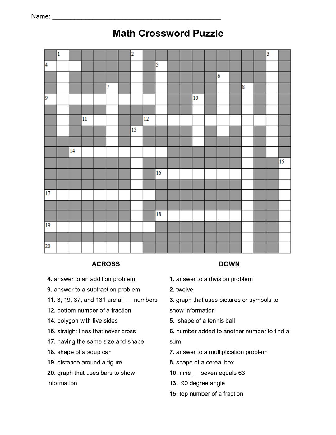 Maths Puzzles For Kids Crossword | Activities | Maths Puzzles, Kids - Free Printable Crossword Puzzle #7