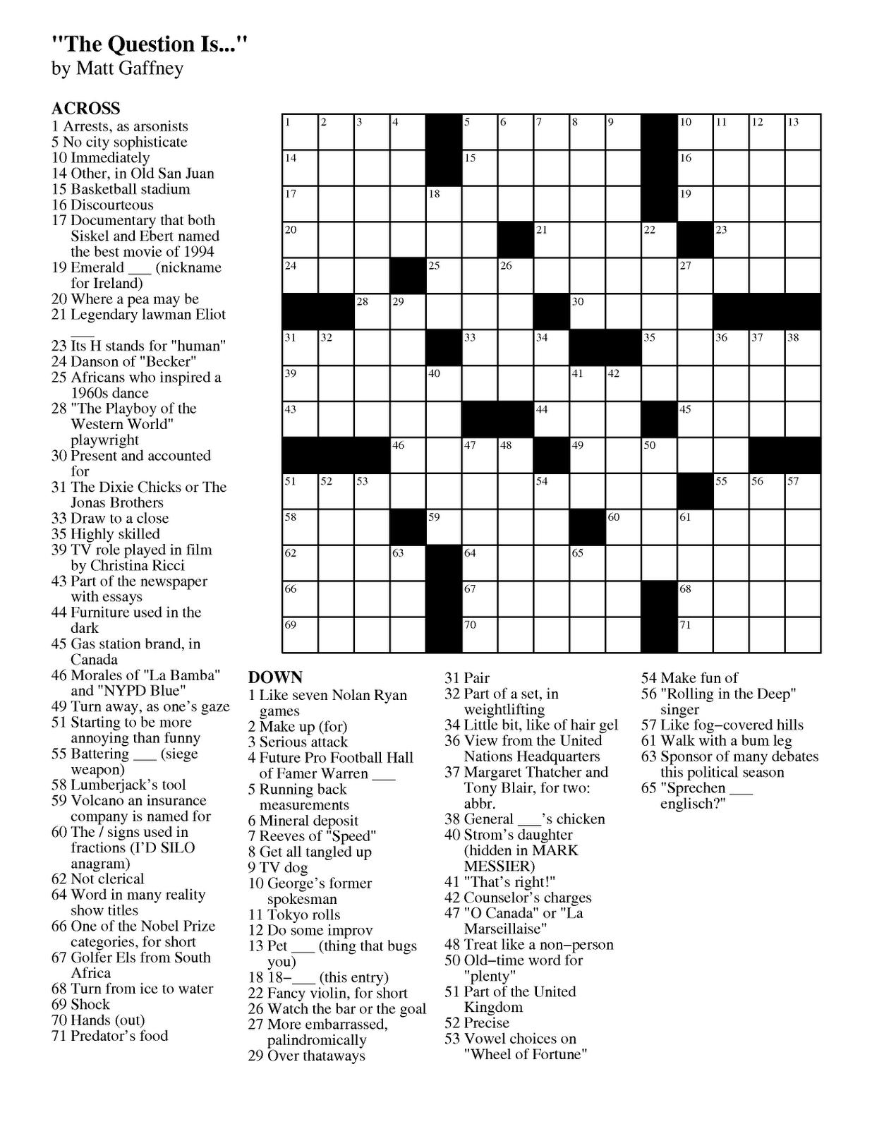 Matt Gaffney's Weekly Crossword Contest: February 2012 - Star Tribune Crossword Puzzle Printable