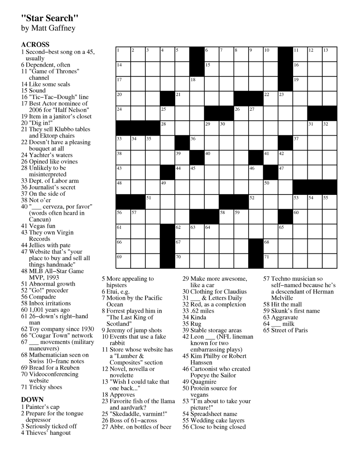 Matt Gaffney's Weekly Crossword Contest: March 2012 - Frank A Longo Printable Crossword Puzzles