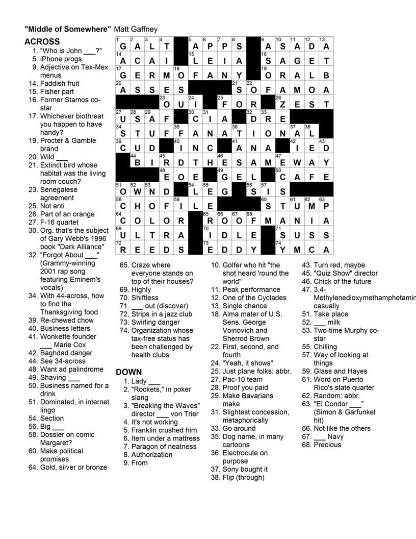 Matt Gaffney's Weekly Crossword Contest: November 2009 - Printable Commuter Crossword Puzzles