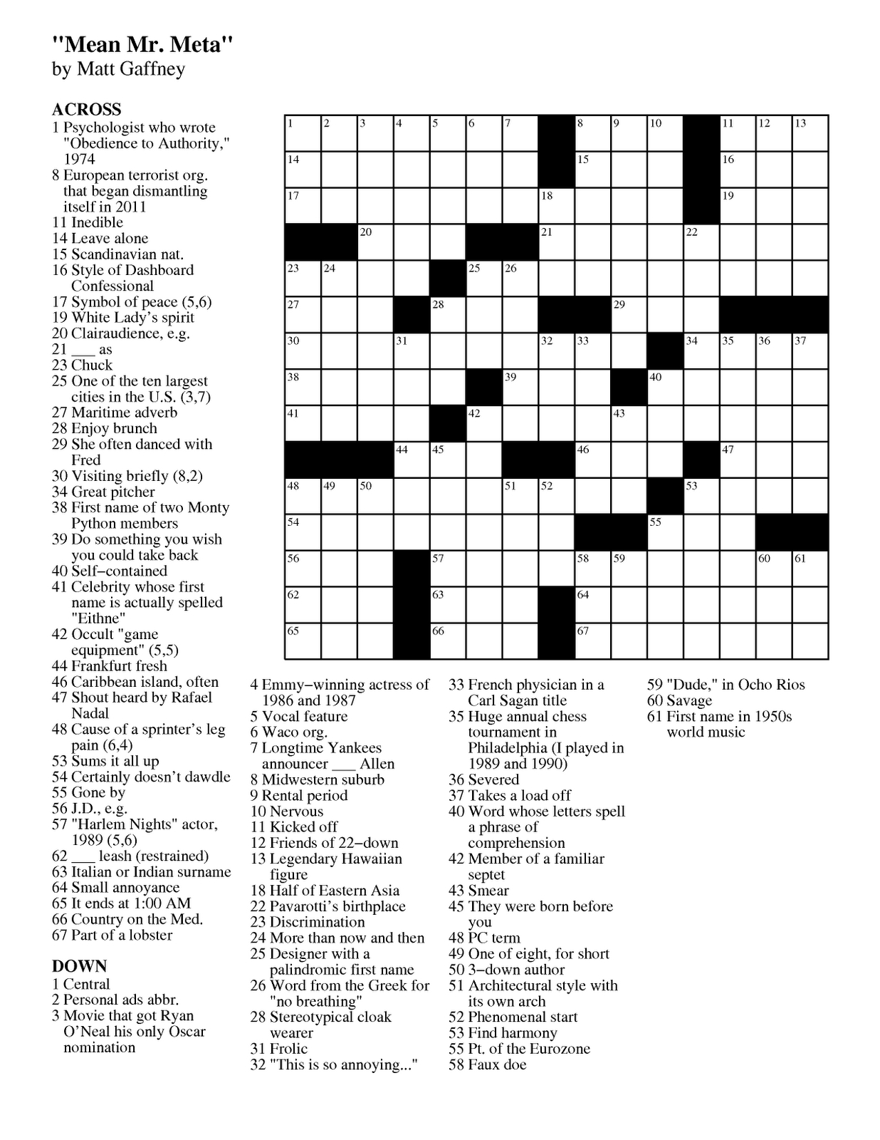 Matt Gaffney's Weekly Crossword Contest: September 2011 - Printable Crossword Puzzles Toronto Star