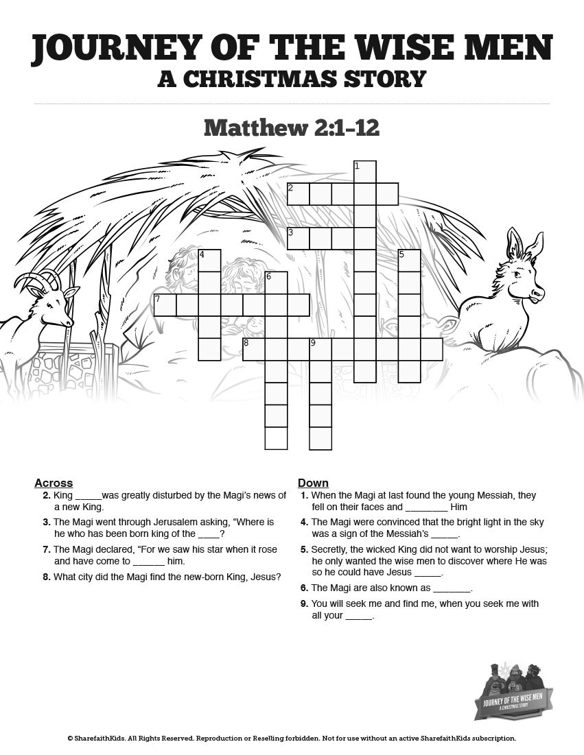 Matthew 2 The Magi Christmas Story Sunday School Crossword Puzzles - Printable Epiphany Crossword Puzzle