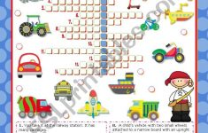 Means Of Transport Crossword Puzzle For Elementary Or Lower   Printable Crossword Puzzles Intermediate