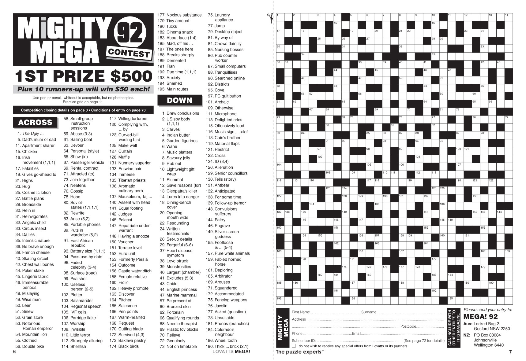 Mega! Crosswords Magazine - Lovatts Crosswords & Puzzles - Printable Cryptic Crossword Puzzles Nz