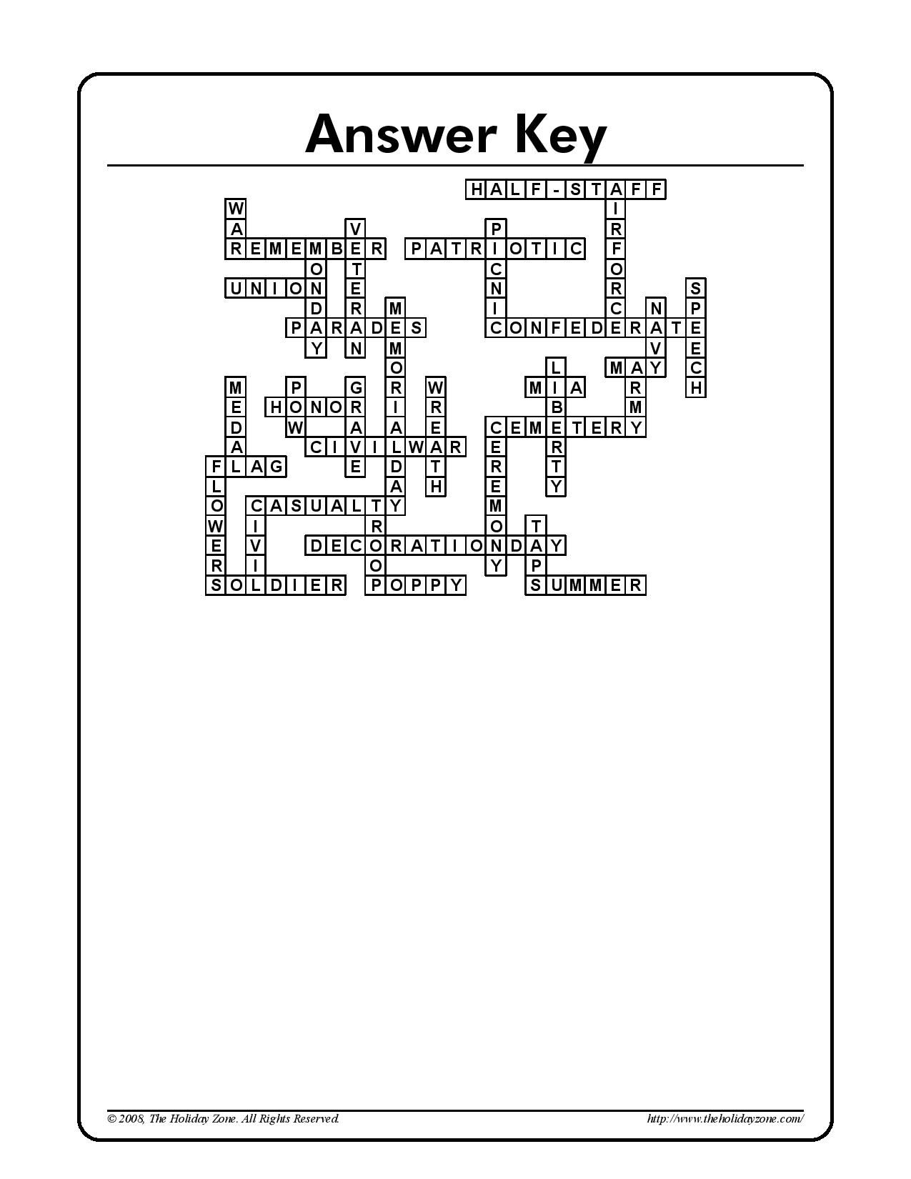 Memorial Day Crossword Puzzle Answer Sheet | Holiday Classroom - Memorial Day Crossword Puzzle Printable