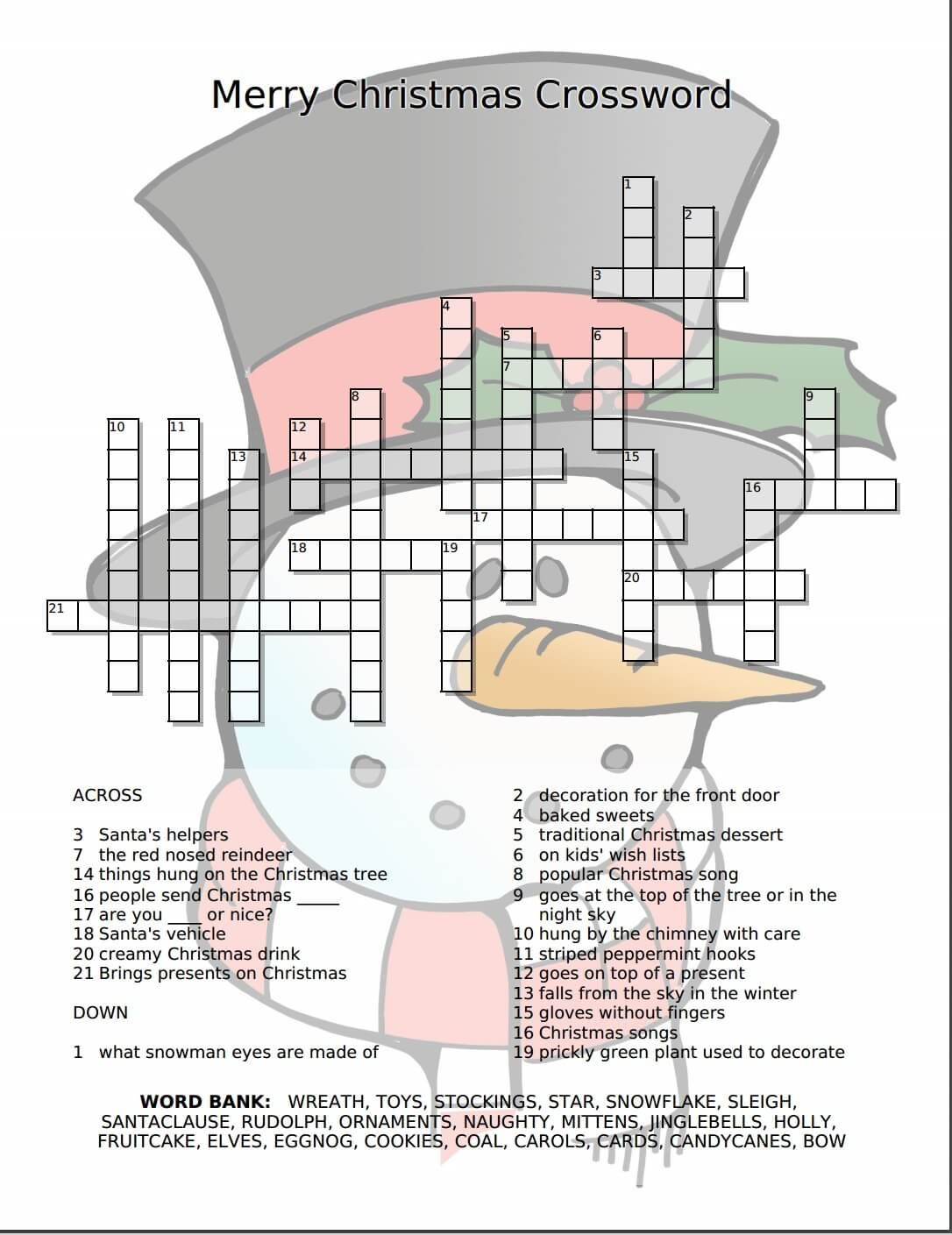 Merry Christmas Crossword Free Printable | Freebies Galore - Free Printable Xmas Crossword