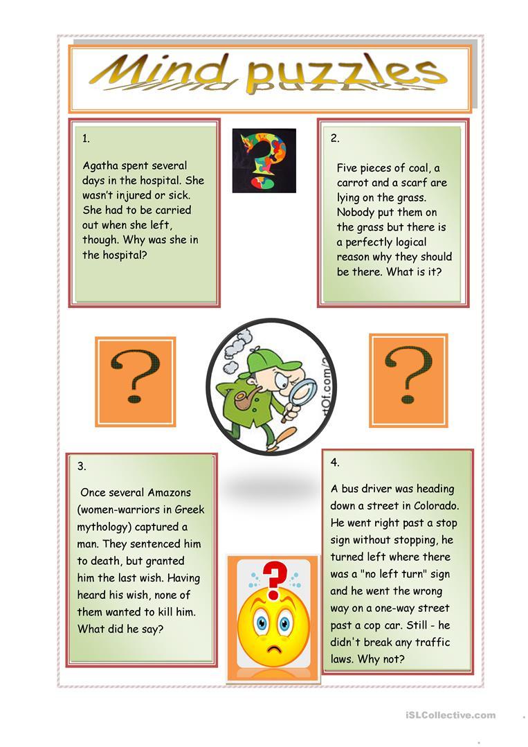 Mind Puzzles Worksheet - Free Esl Printable Worksheets Madeteachers - Printable Lexicon Puzzles