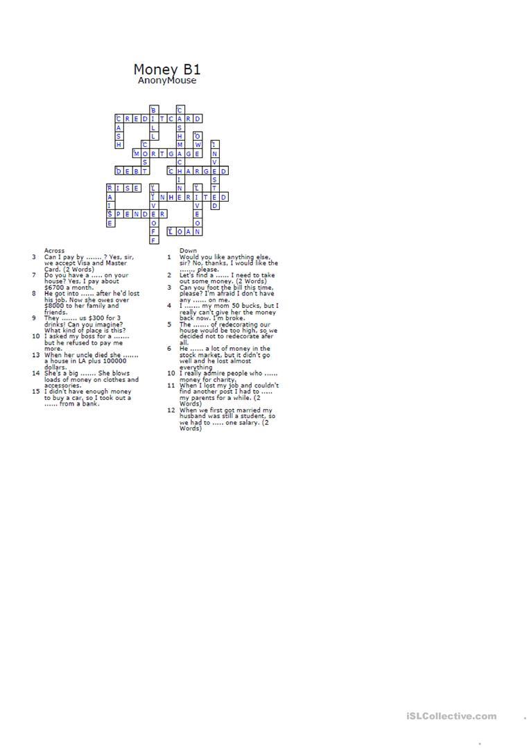 Money Crossword Puzzle Worksheet - Free Esl Printable Worksheets - Printable Money Crossword Puzzle
