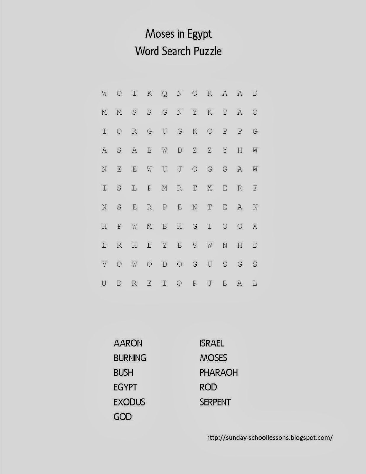 Moses In Egypt Word Search Puzzle - Free Sunday School Activities - Printable Puzzles On Moses