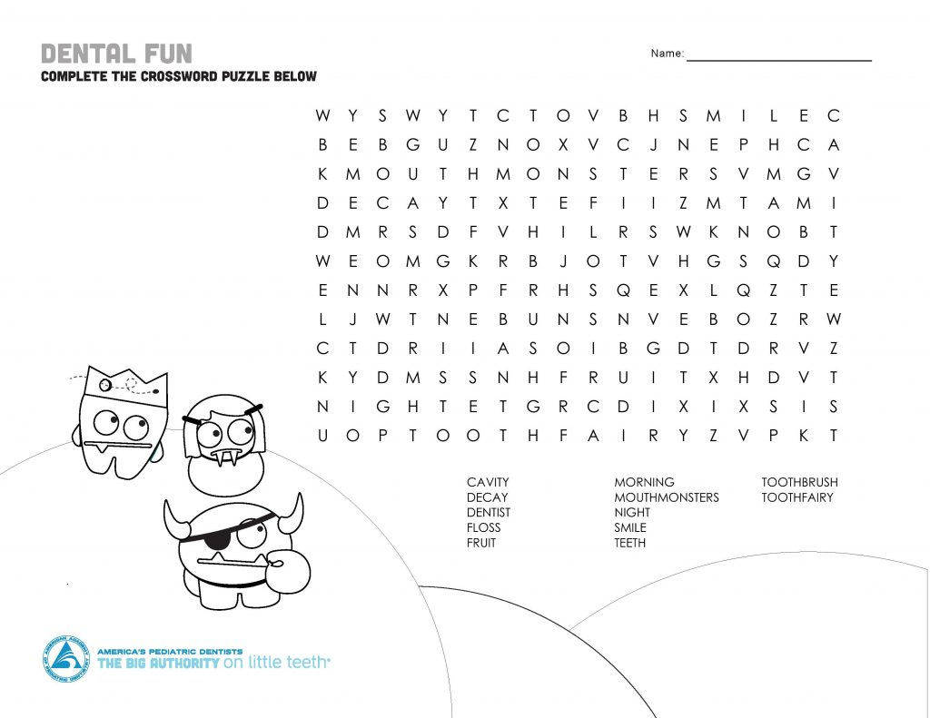 Mouth Monster Themed Crossword Puzzle & Word Search | The Big - Printable Dental Puzzles